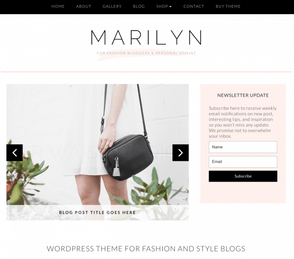 best feminine wordpress themes marilyn Bluchic startbloggingpros.com