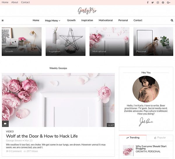 pretty blog themes Girlypro theme magplus stylish WordPress theme pretty blog layout best feminine wordpress themes startbloggingpros.com