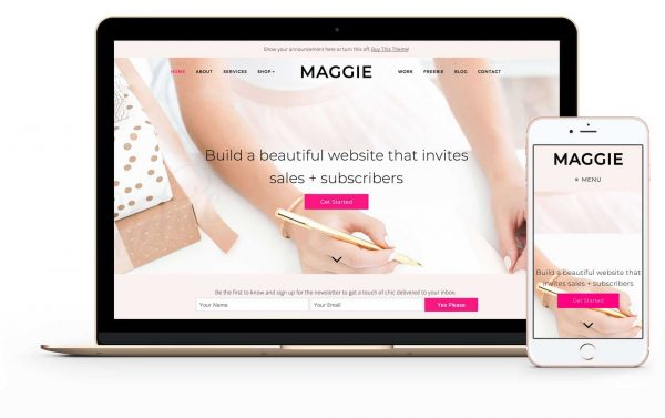 best feminine wordpress themes Bluchic Maggie startbloggingpros Stylish WordPress themes pretty wordpress themes pretty blog theme pretty blog layout startbloggingpros.com